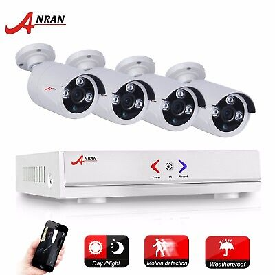 ANRAN 4Ch P2P Remote AHD DVR  1800TVL IP66 720p Home Security CCTV Camera System