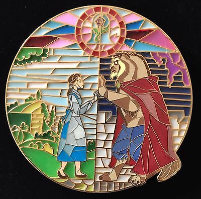 Belle Beauty & The Beast Batb Stained Glass Jumbo Non Disney Fantasy Pin Le 50