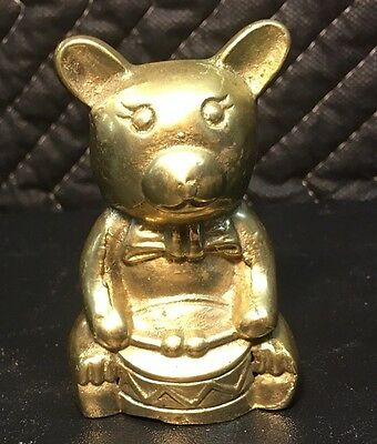 Vintage Brass Bear Teddy Bear Playing Drum Figurine Paperweight Animal