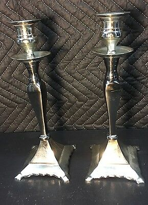 """Vintage Pair of 10"""" Tall Silverplate Matching Candle Sticks Ornate Estate Find"""