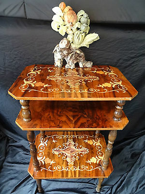 Opulent Vintage French Rococo Marquetry Burr Walnut 3 Tier Occasional Table
