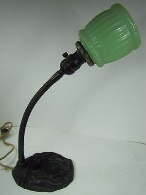 Antique Art Deco Pair of Mermaids Cast Iron Nude Figural Light Lamp Green Shade