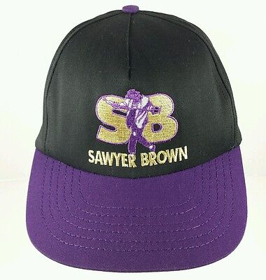 Vtg Sawyer Brown Snapback Hat Cap Embroidered Made in USA Country Western Band