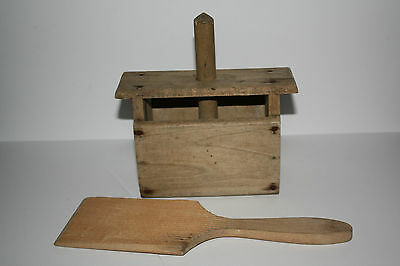 Antique Wooden Butter Press with Ribbed Paddle