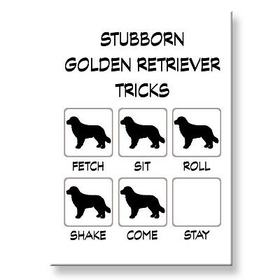 GOLDEN RETRIEVER Stubborn Tricks FRIDGE MAGNET Steel Case Funny