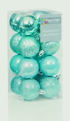 32 (2x16) Ice Blue Mix 50mm Shatterproof Baubles Christmas Decorations Themed