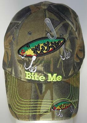 ball cap hat fishing lure 'bite me camouflage