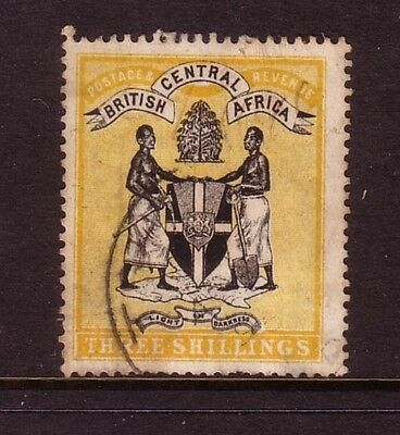 BRITISH CENTRAL AFRICA....  1895-96  3/-  black and yellow used....cv £50