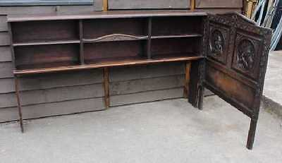 1920's Single Carved Breton Oak Headboard with side shelves .Carved Panels