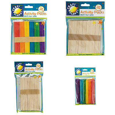 Natural / Coloured Wooden Lollipop Ice Lolly Flat Sticks Standard Large Craft