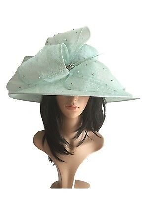 Soft Mint Sorbet Green Wedding Hat Formal Occasion Mother Of The Bride Diamonte