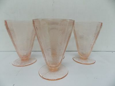 "1930s Era Jeannette Glass Floral Poinsettia 4"" Footed Juice Tumblers , Set of 4"