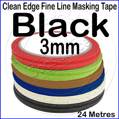 Clean Edge Fine Line Masking Tape 3mm x 24M - BLACK - Paint Models Nails AT - UK