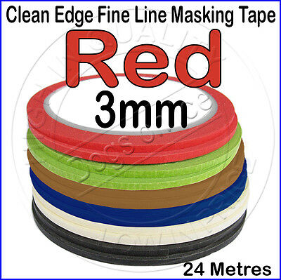 Clean Edge Fine Line Masking Tape 3mm x 24M - RED - Paint Models Nails AT - UK