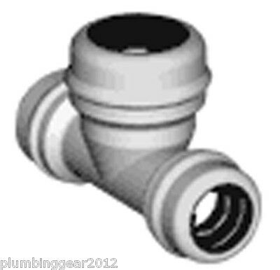 5 x Marley Equator pushfit 15-15-22mm ends reduced tees. Push fit reducer tee