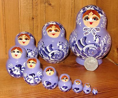 Russian hand painted nesting doll 10 LILAC MATRYOSHKA PURPLE Birds Nikitina GIFT