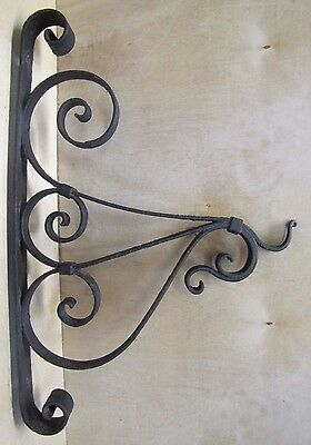Old Wrought Iron Bracket Trade Sign Oil Lamp wall mount rat tail twist hardware • CAD $425.53
