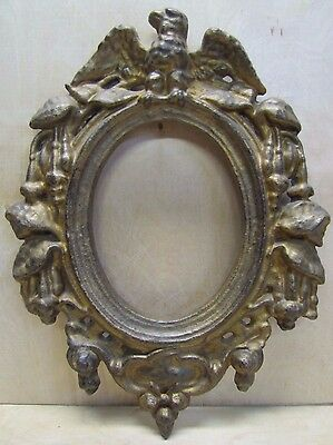 Antique Cast Iron Eagle Frame picture mirror original old gold paint high relief