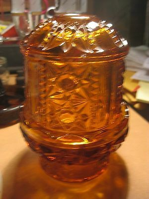 Vintage Amber Brown Glass Fairy Lamp