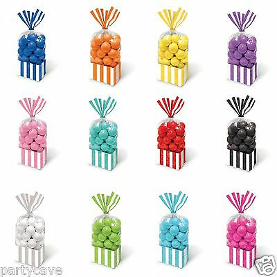 All Colours Candy Buffet Sweet  Stripe Cello Cellophane Party Favor Bags X 10