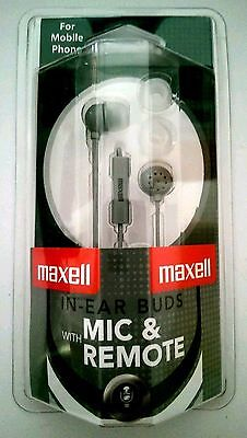new Maxell IE-MIC SLV Silver In-Ear Buds Headsets with talk Mic remote sealed