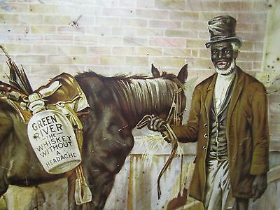 Orig c1929 Green River Whiskey Advertising Metal Sign Charger Black Americana lg