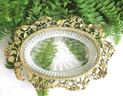 Pretty Signed Vintage Matson Gold Roses Soap Dish