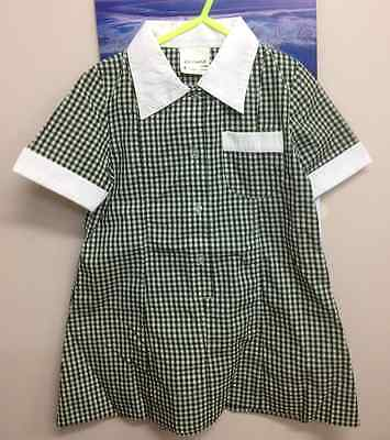 Children Girl Gingham Check School  GREEN/WHITE  Dress