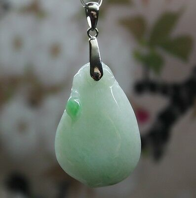 """Certified Natural """"A"""" Apple Green Jadeite Jade Carved Good Fortune Melon Pendant"""