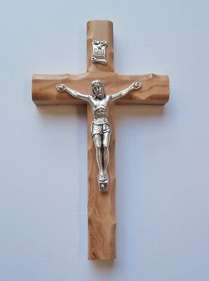 Olive Wood WALL CRUCIFIX from Bethlehem Holy Land 12x7cm Baptism, Communion Gift