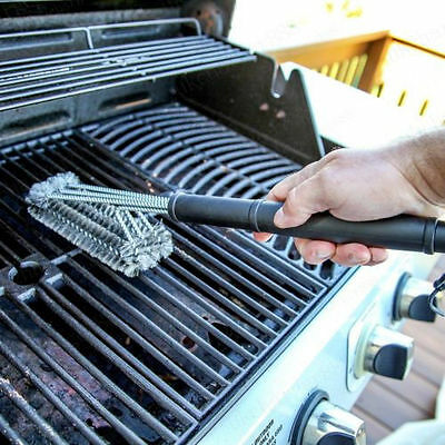 """18"""" Barbecue Grill Cleaning Tool Stainless Steel Brush Handheld BBQ Clean Woven"""