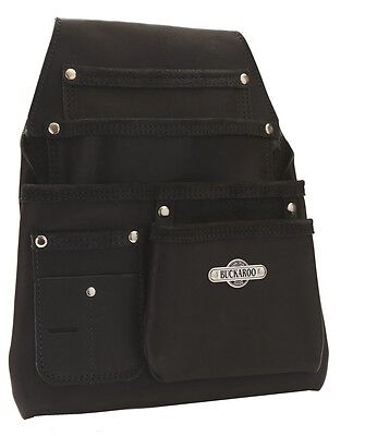 Buckaroo Leather 4 Pocket Formwork Carpenter Nail Bag Black - NBF4B