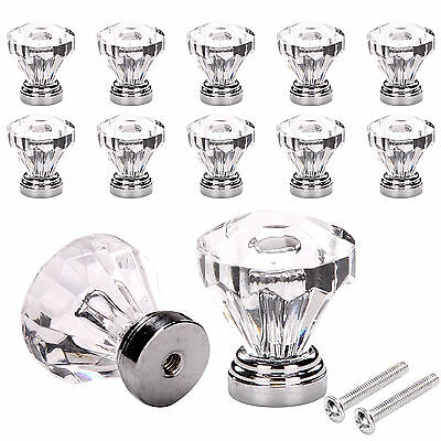 12 Crystal Glass Door Knobs Diamond Drawer Cabinet Furniture Handle Knob Kitchen