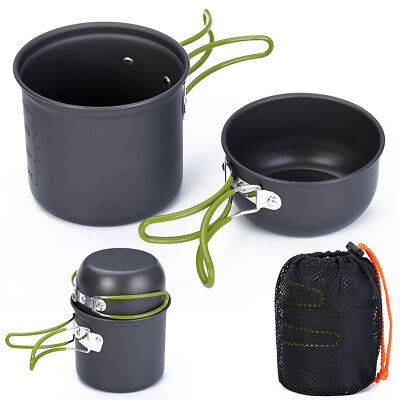 Useful Outdoor Camping Hiking Cooking Cookware Picnic Non-stick Pan Bowl Set