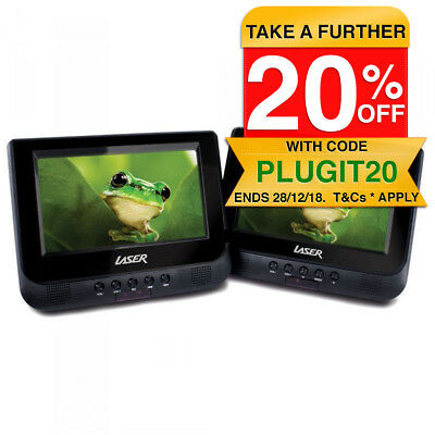 """LASER Portable CD/DVD Player Dual/Twin 7"""" Screen In Car/Home/All Region Free 0"""