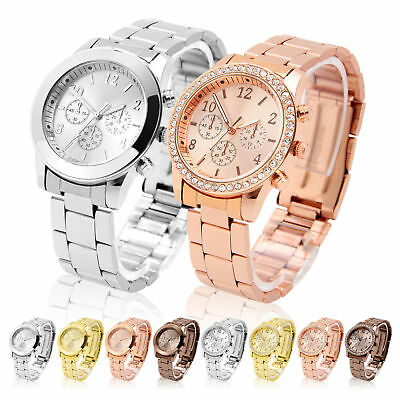 Gold Ladies Women Crystal/diamond Stainless Steel Bracelet Quartz Wrist Watch