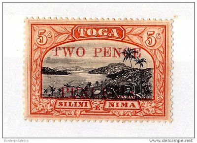 Tonga Toga 1923 2d on 5/- SG70 Mint X3116