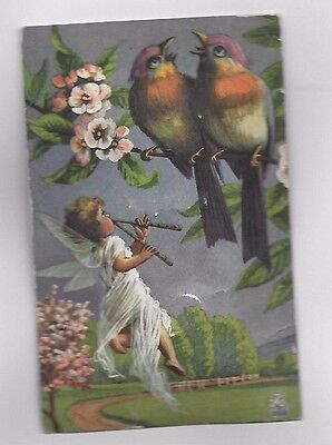 SQUEEZE ME circa 1920's Squeaking Birds! NOVELTY Color Postcard Made in Germany!