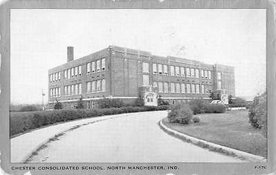 Manchester Indiana Consolidated School Street View Antique Postcard K35864