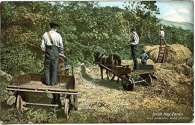 Old Rare Postcard Irish Hay Carts With Solid Wheels Dated 1906 (Ref: LG260)