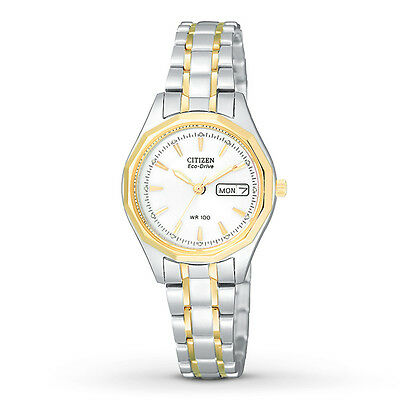 New in Box! Ladies CITIZEN Eco-Drive Two Tone Silhouette Day & Date EW3144-51A