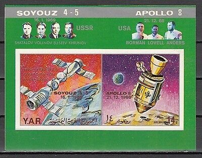 """ Yemen Arab Rep., Mi cat. 918, BL99 B. Apollo & Soyuz, IMPERF s/sheet."