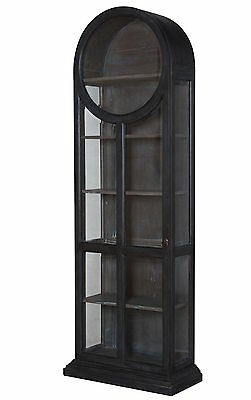 """86"""" Book Shelf French Mahogany Hand Painted Display Cabinet Glass Round Arch"""