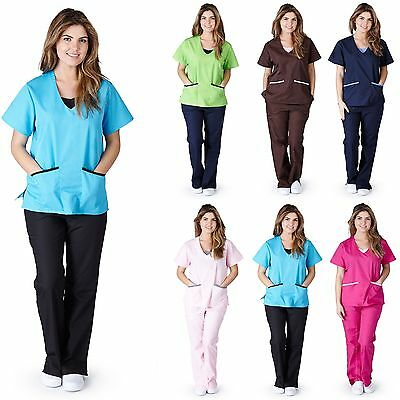 Medical Nursing NATURAL UNIFORMS Contrast JERSEY Scrubs Set XS S M L XL 2XL 3XL
