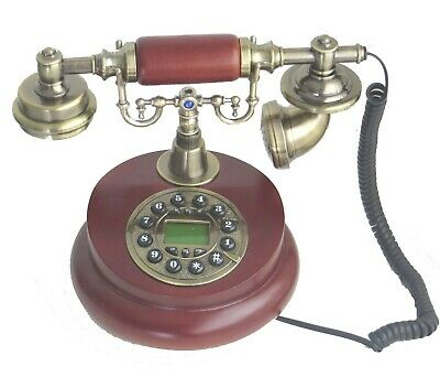 Ceramic Corded Desk Home Phone Classical Victorian Style Vintage White Landline