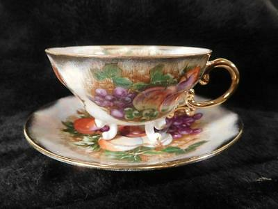 Vintage Royal Sealy Tea Cup & Saucer Set - Still Life Fruits w/Gold Accent