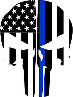 Punisher Skull Reflective Fire Helmet Decals Fire Helmet Sticker - Blue Line