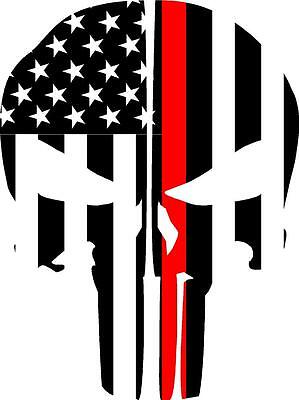 Punisher Skull Reflective Fire Helmet Decals Fire Helmet Sticker - Red Line