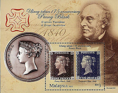 Malaysia Stamp, 2015 MAL1507S 175 ANN of Penny Black S/S, First Postage Stamp