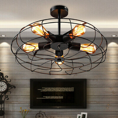 Industrial Vintage Metal Fan Pendant Lamp Steampunk Ceiling Chandelier Light
